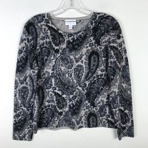 Charter Club Paisley Cashmere Crew Sweater #1521